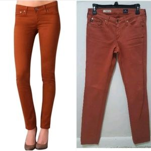 Anthro AG Jeans Skinny Stilt Cigarette Red Rust 26